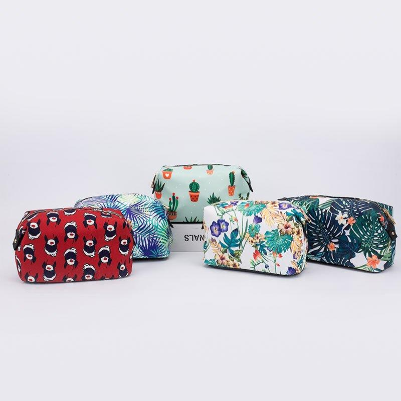 Cute girl fashionable small print fabric travel cosmetic evening bags