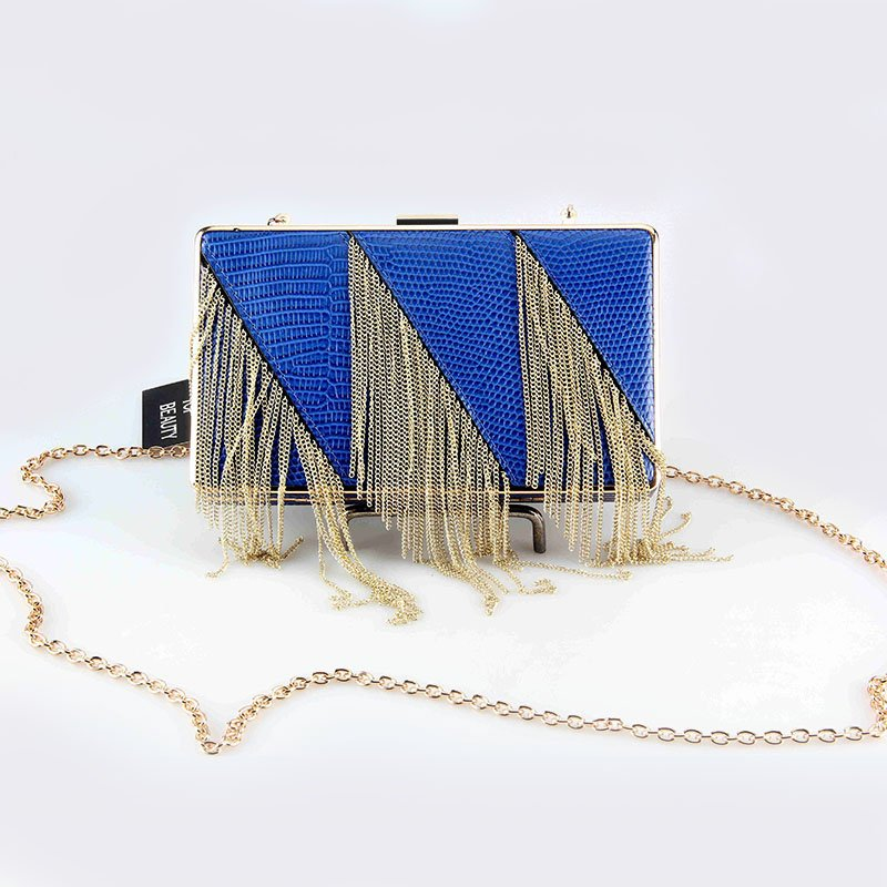 TOP-BEAUTY Arts & Crafts Ladies PU Clutch Evening Bag with Metal Tassels Tassels Evening Bags image3