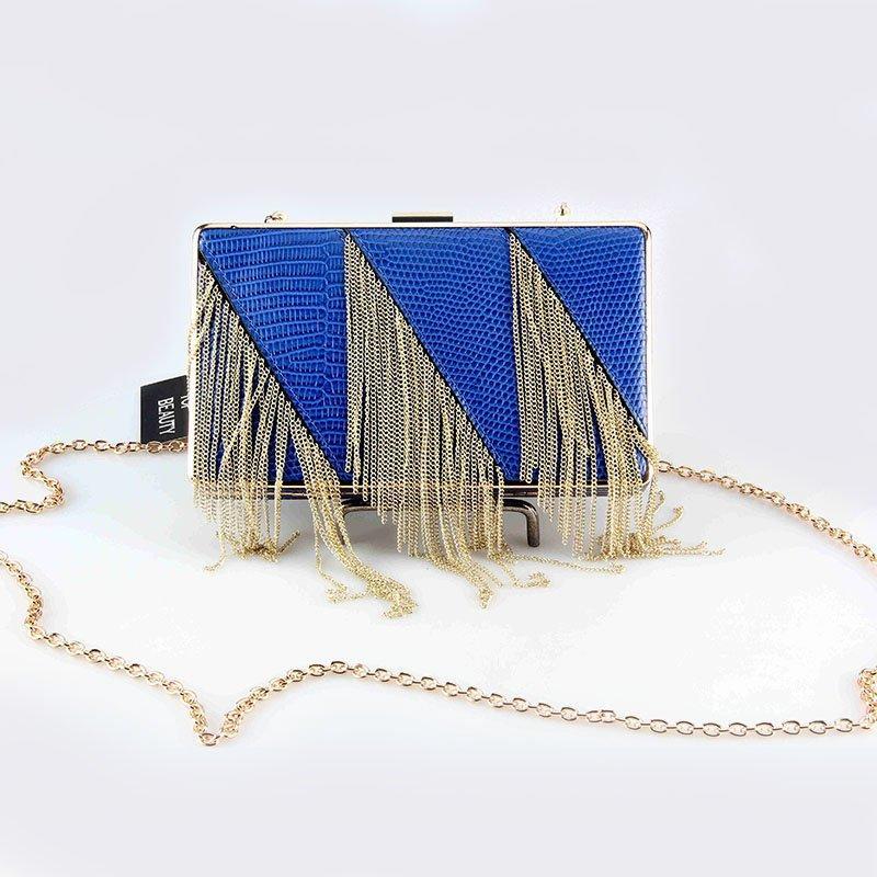Ladies PU Clutch Evening Bag with Metal Tassels