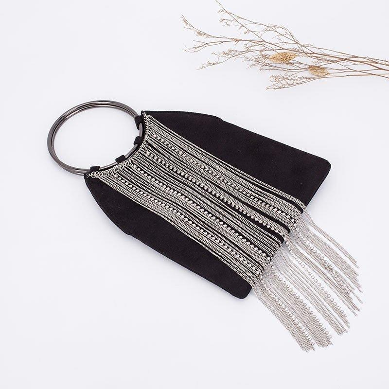 Unique Design Evening Clutch with Long Tassels Decoration