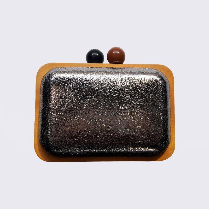 Wholesale Creditable Ladies Clutches Wooden Frame Bag with kiss lock