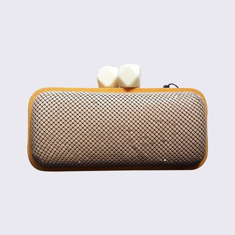 Wooden Frame Handbag HardCase Evening Bag from Top Beauty