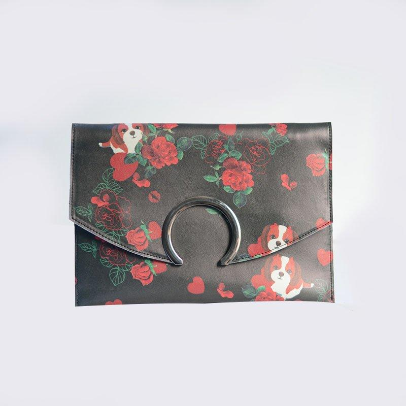 2018 New Collection Pu Flower Printed Handbag Round Closure Envelope