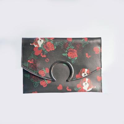 2018 New Collection Pu Flower Printed Handbag Round Closure Envelope