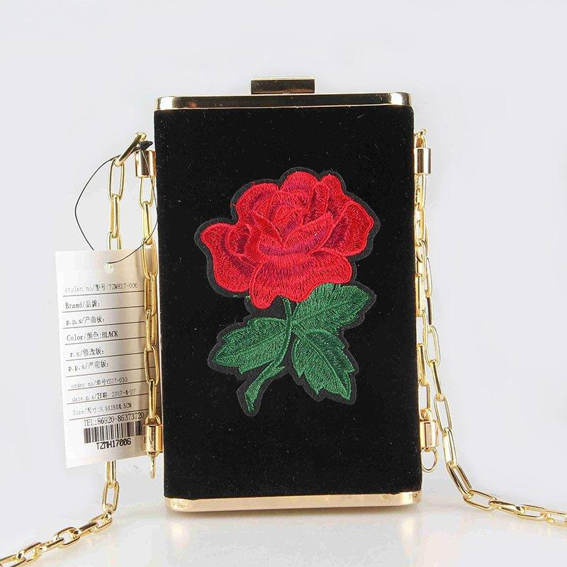 New Arrival 2018 Shiny Velvet Rose Embroidery Patch Decoration Clutch