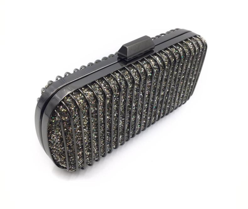 new original design 2018 best seller glitter metal frame clutch bag